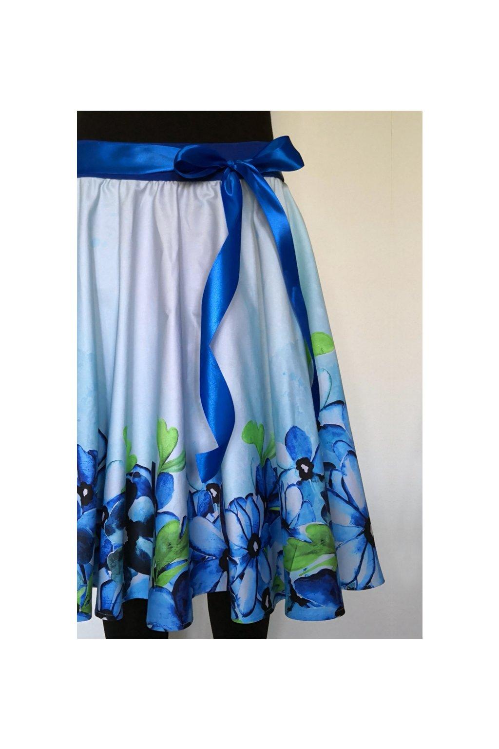 Kolová sukně Romantické květy | plátno