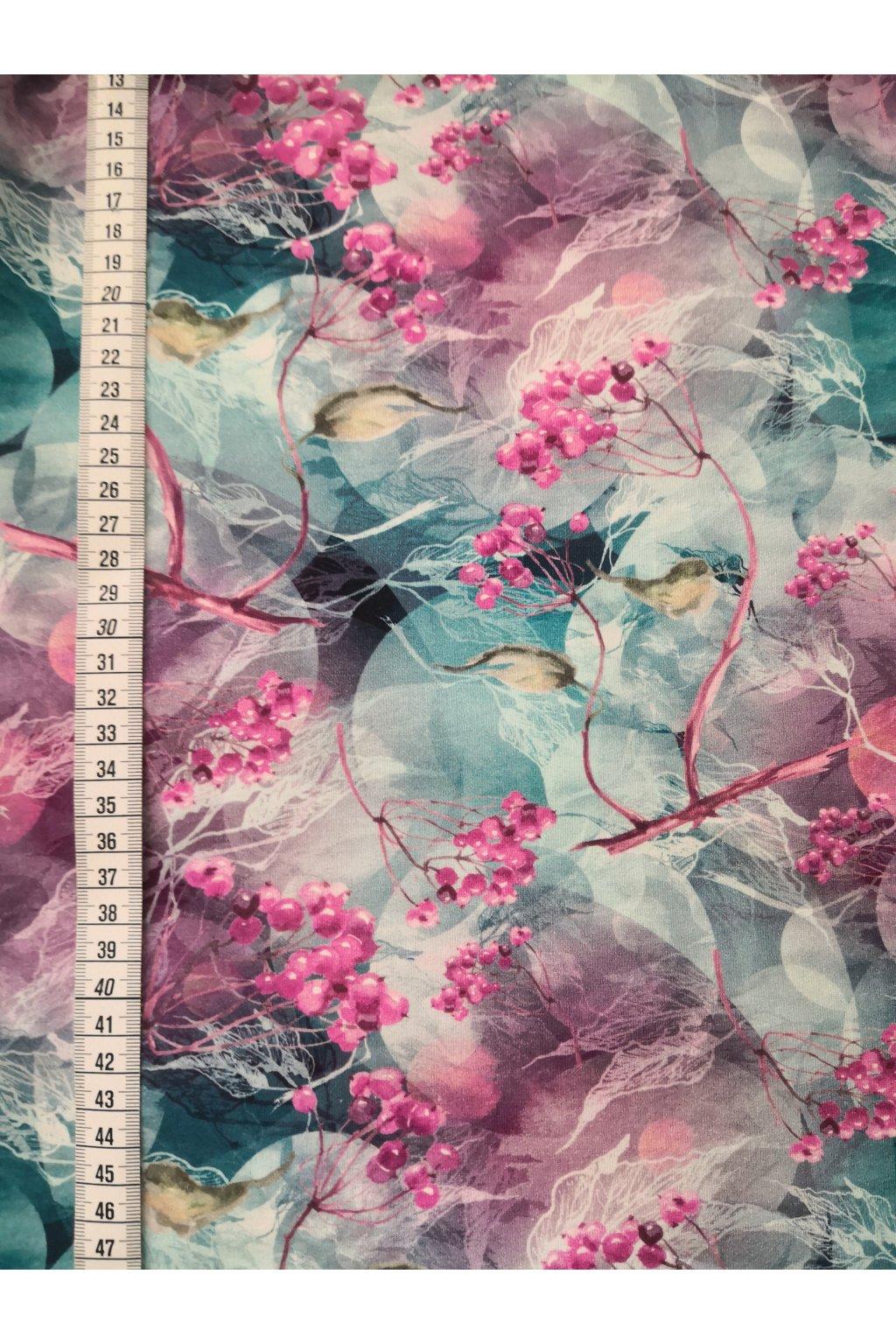 Růžové bobulky, petrolejové listy | bavlněný úplet