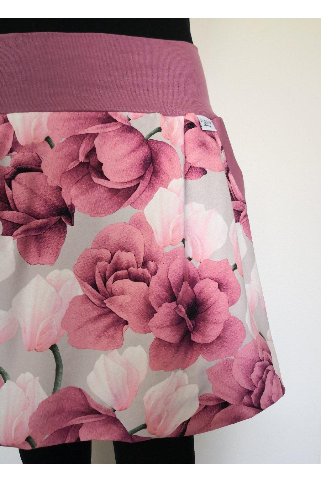 Balonová sukně Magnolie a růže | úplet