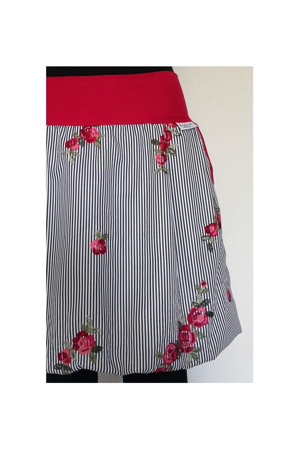 Balonová sukně Růžičky na proužku   popelín