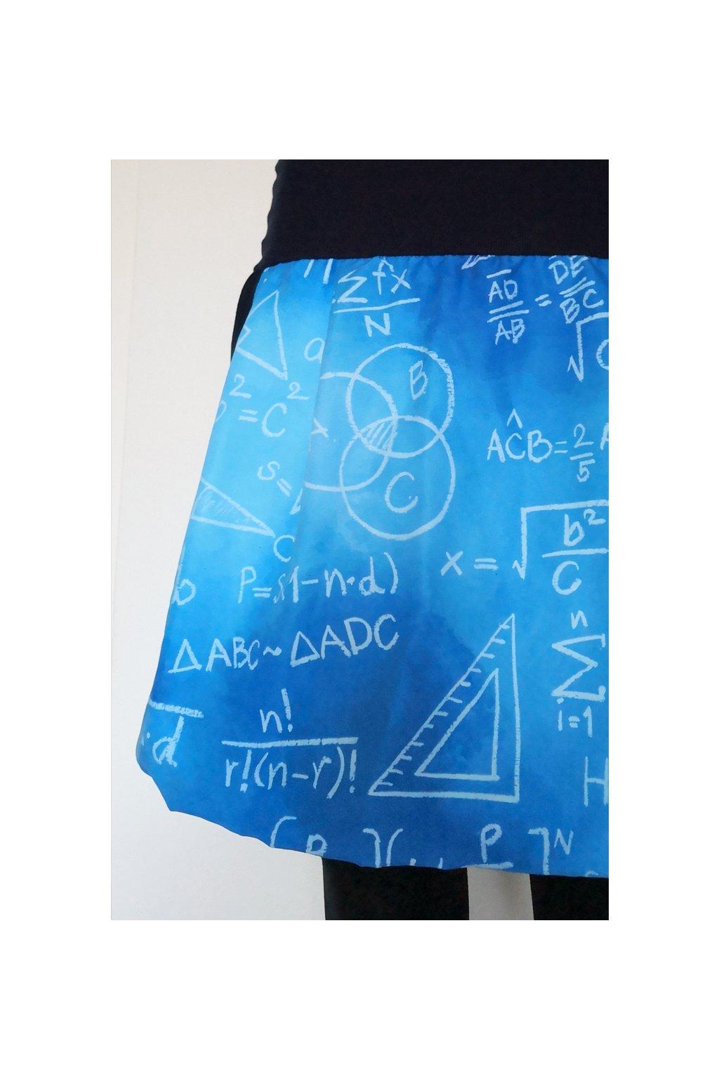 Balonová sukně Školní tabule, modrá | micropeach