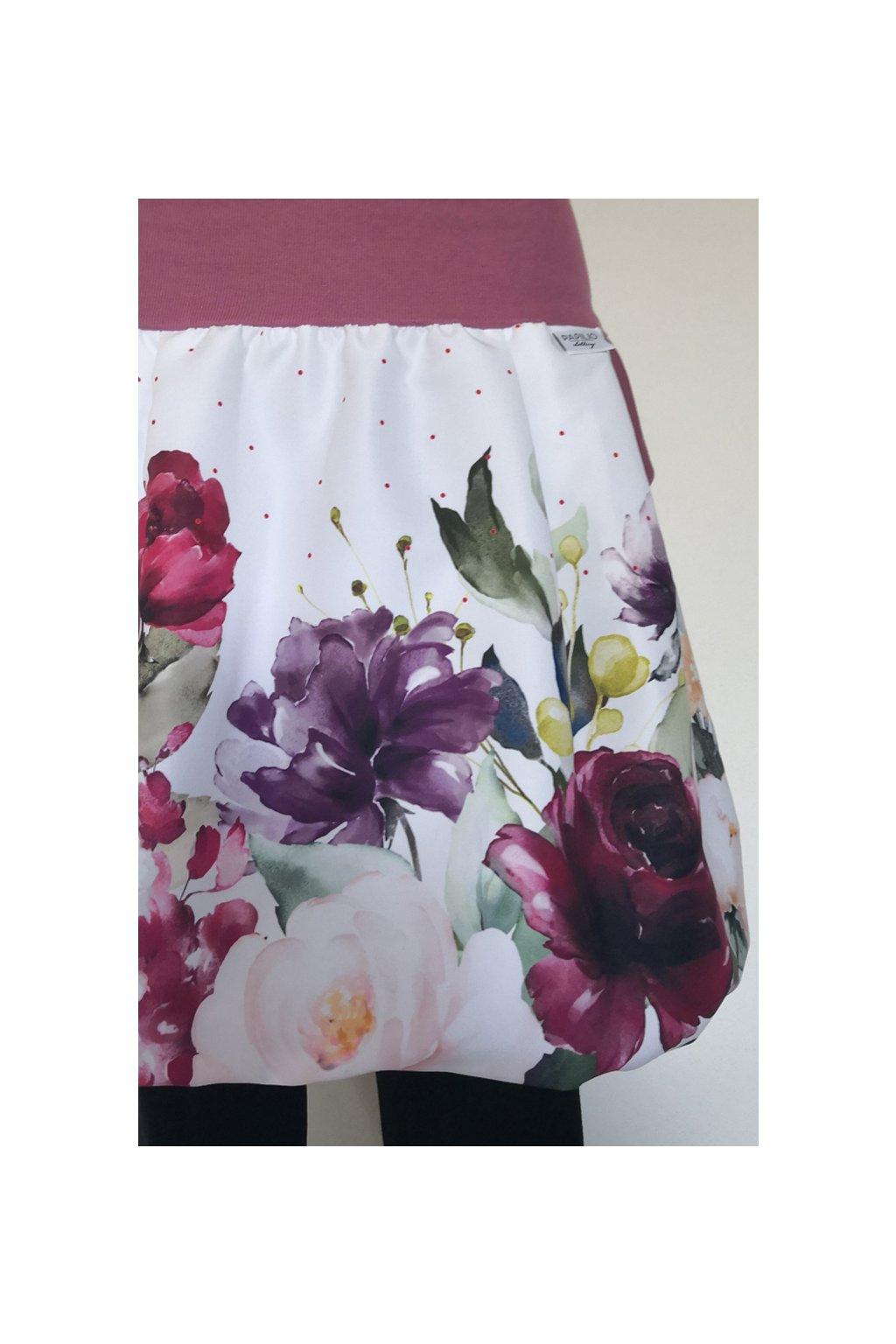 Balonová sukně Bordó květy | micropeach