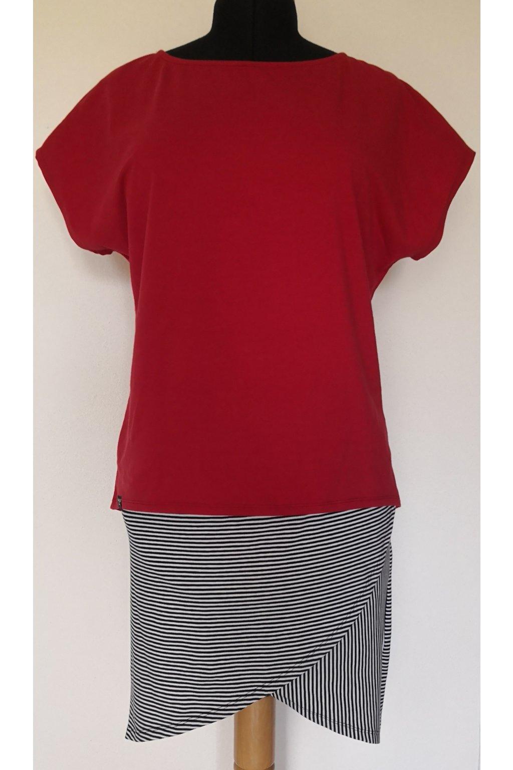 Tričko volné, tmavý meloun | bavlněný úplet