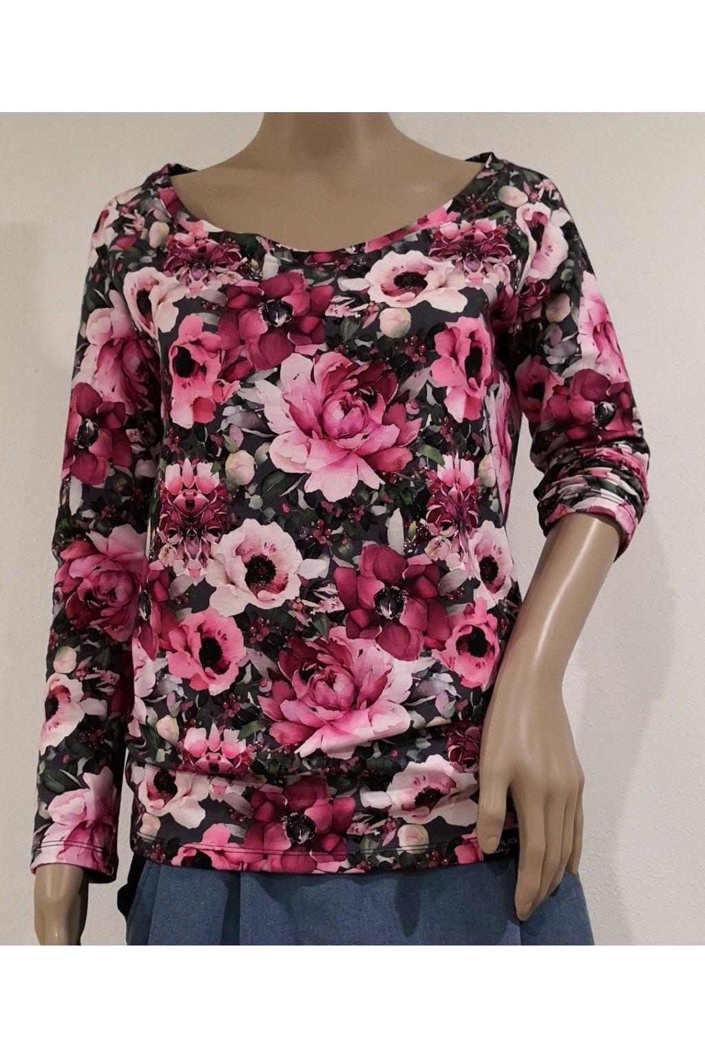 Tričko s dlouhým rukávem - Pivoňky a růže | úplet