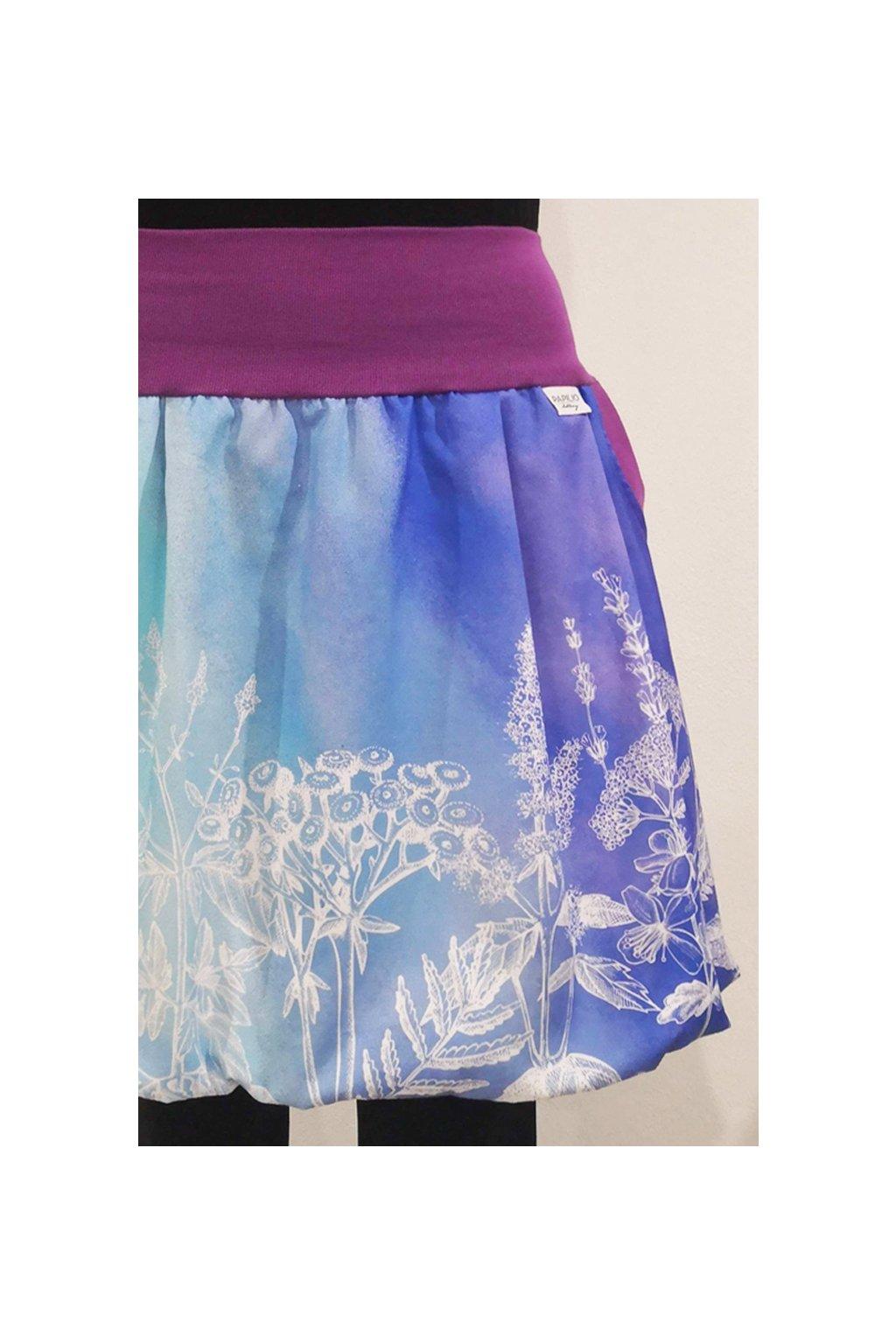 SKLADEM - Balonová sukně Duhová bylinka | plátno