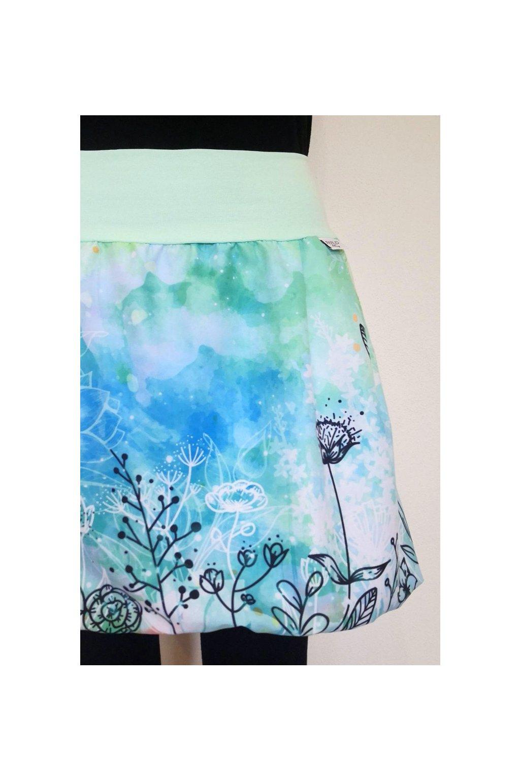 SKLADEM - balonová sukně Mint květy | micropeach