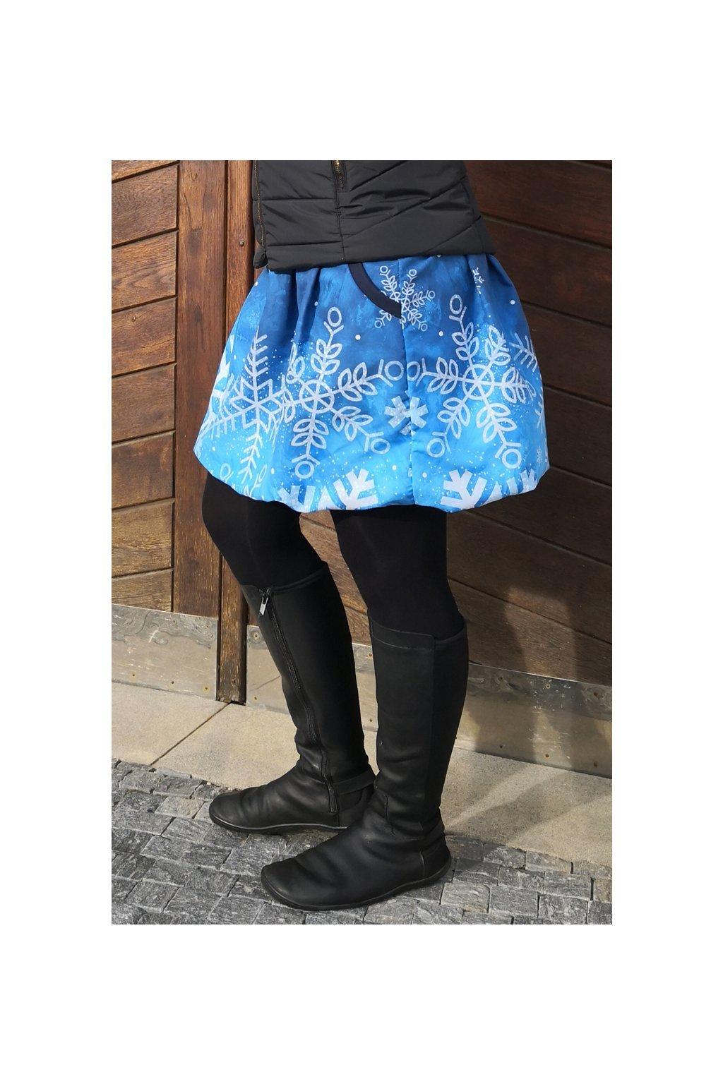 SKLADEM - Balonová sukně Vločky modré  | plátno