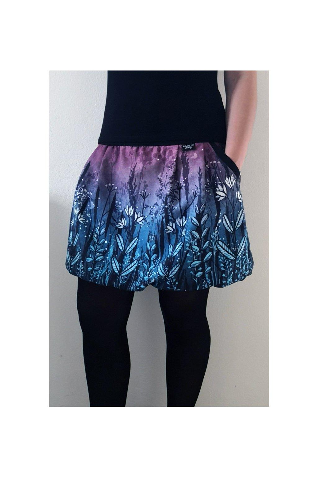 SKLADEM - balonová sukně Louka modrá | micropeach