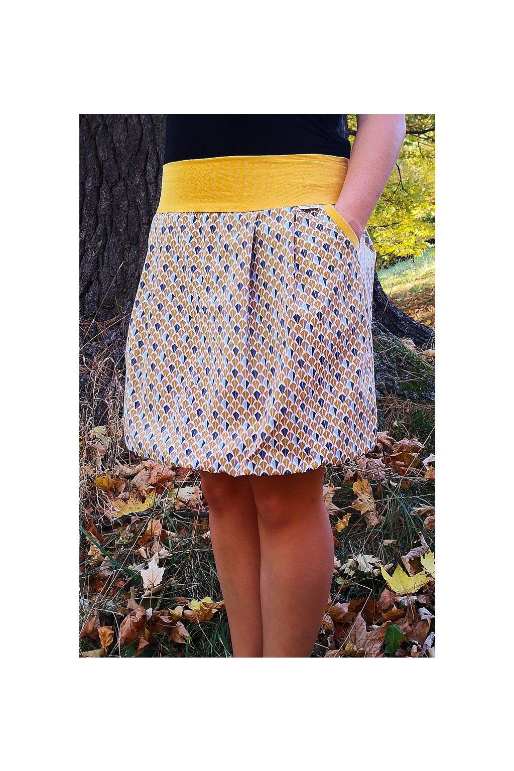 SKLADEM - Balonová sukně Diamanty okrové velikost S-M, délka 48 cm   plátno