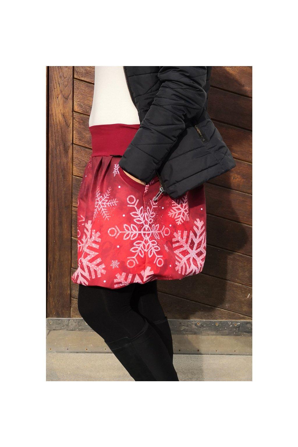 SKLAD - Balonová sukně Vločky červené | plátno