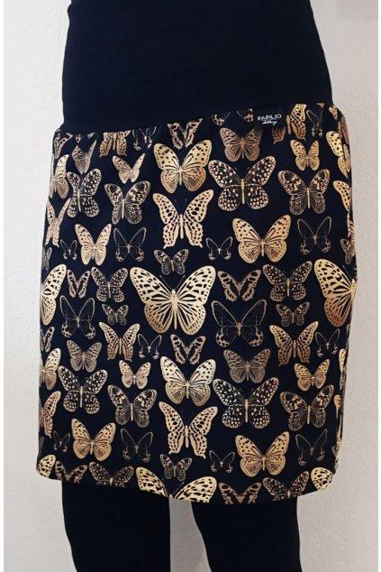 Pouzdrová sukně Motýlci zlatí | úplet
