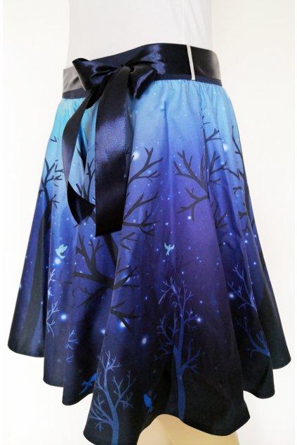 Noc v lese   kolová sukně   plátno