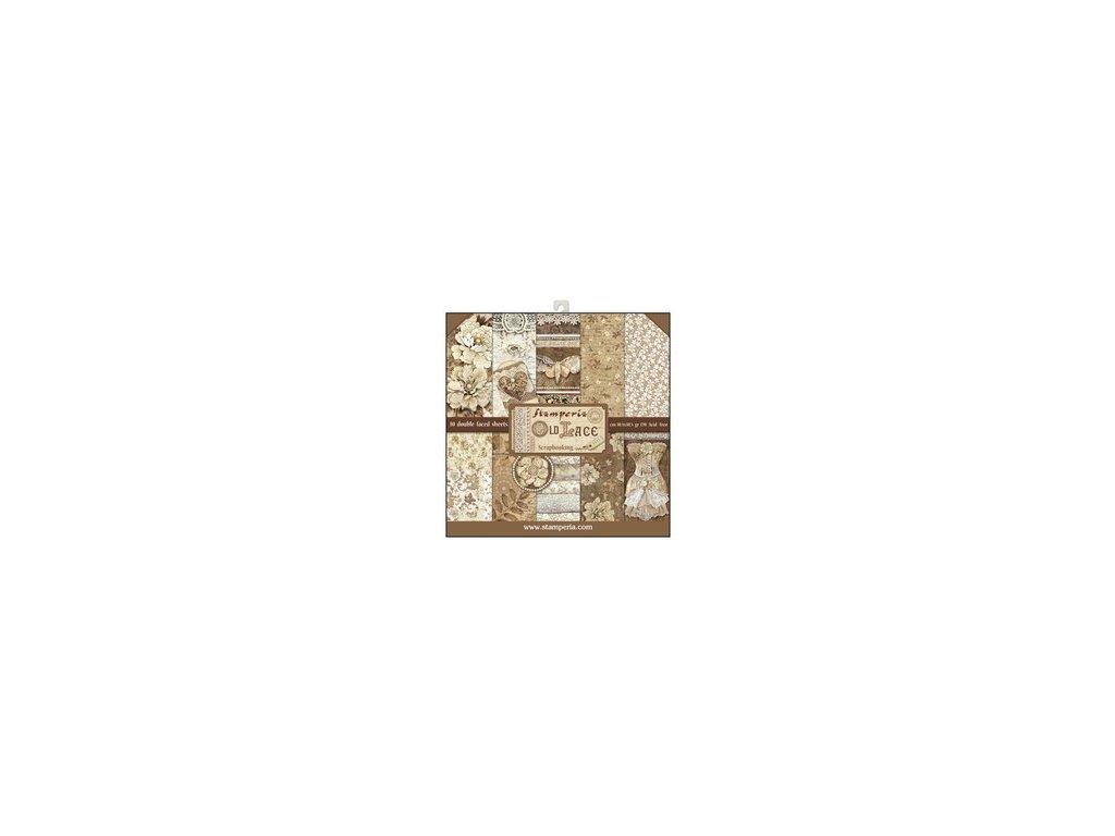 Sada oboustranných papírů Pivoňky a krajky