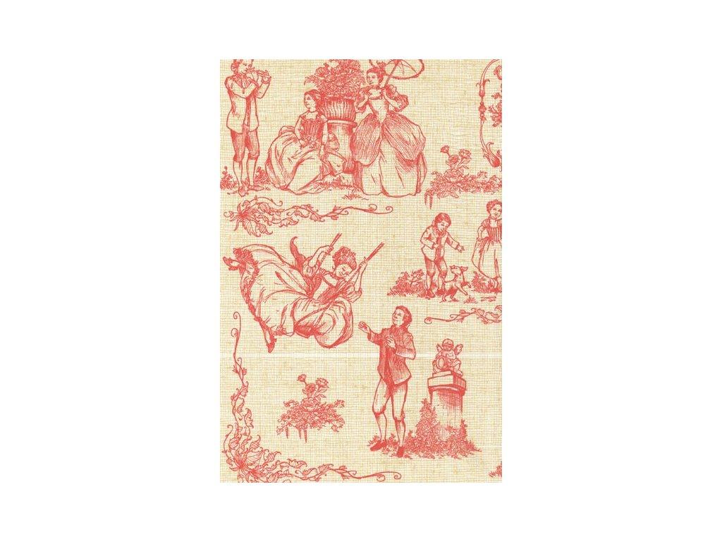 Papír na decoupage Krémově-červený s princeznou