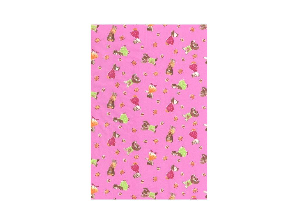 Papír na decoupage Růžový s medvídky