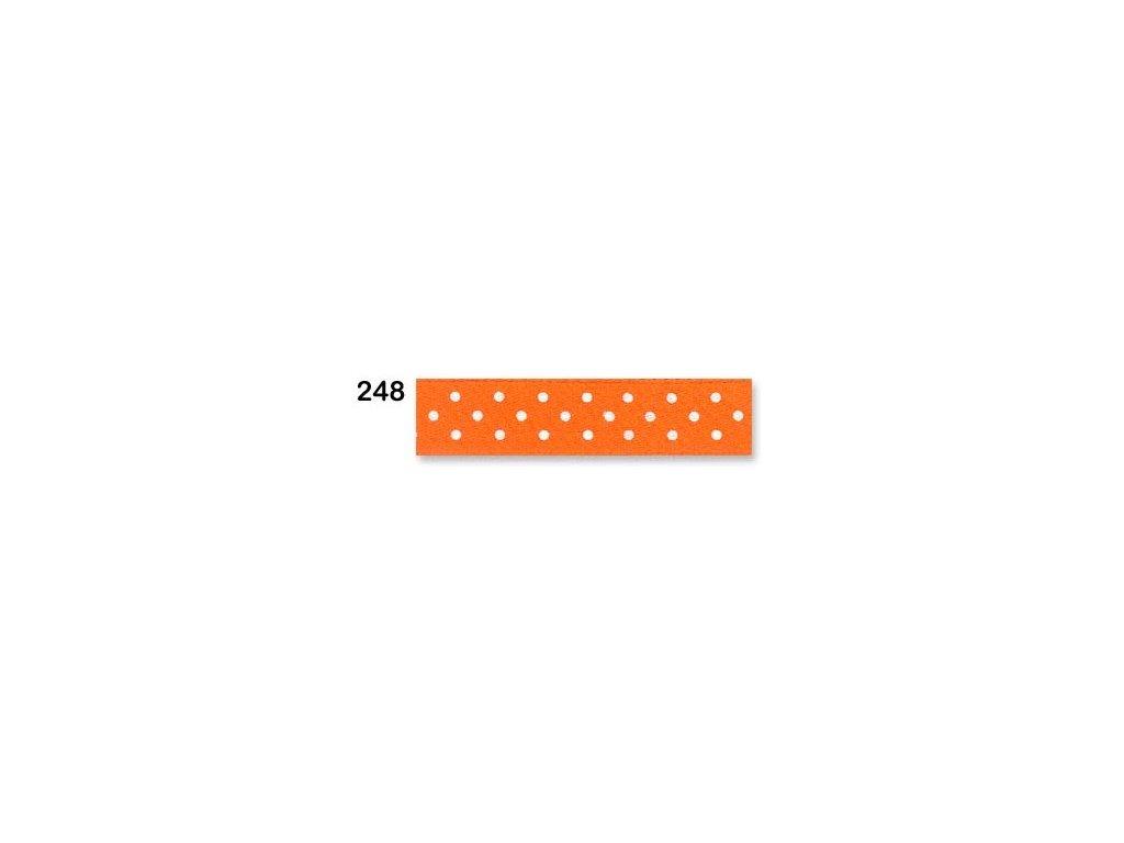 stuha satén puntík oranžová