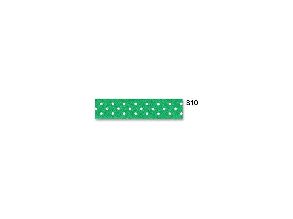 stuha satén puntík zelená