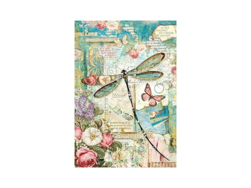 Rýžový papír Vážka a květiny