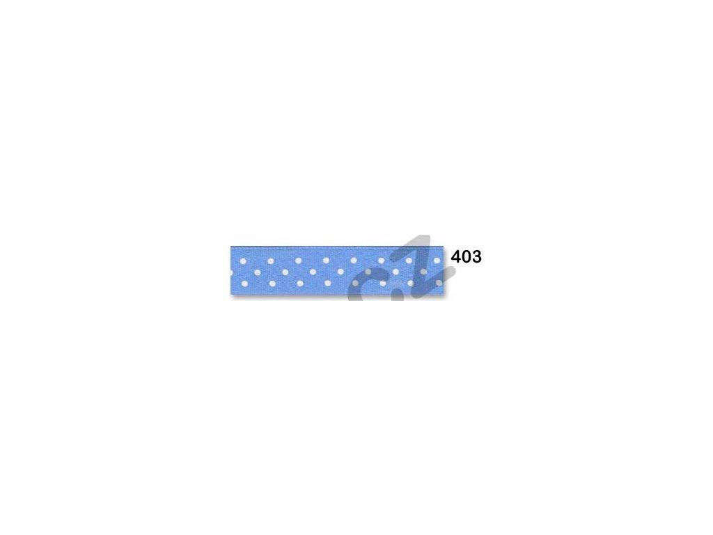stuha satén puntík blankytná modř