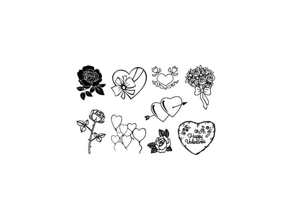 Gelová silikonová razítka Srdíčka a růže