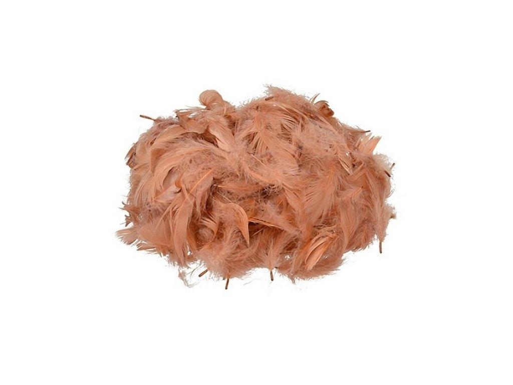 Peříčka oranžovo hnědá cca 110 ks