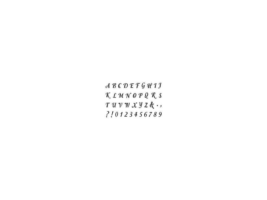 Gelová silikonová razítka Písmenka tiskací a čísla (kurzíva, velká)