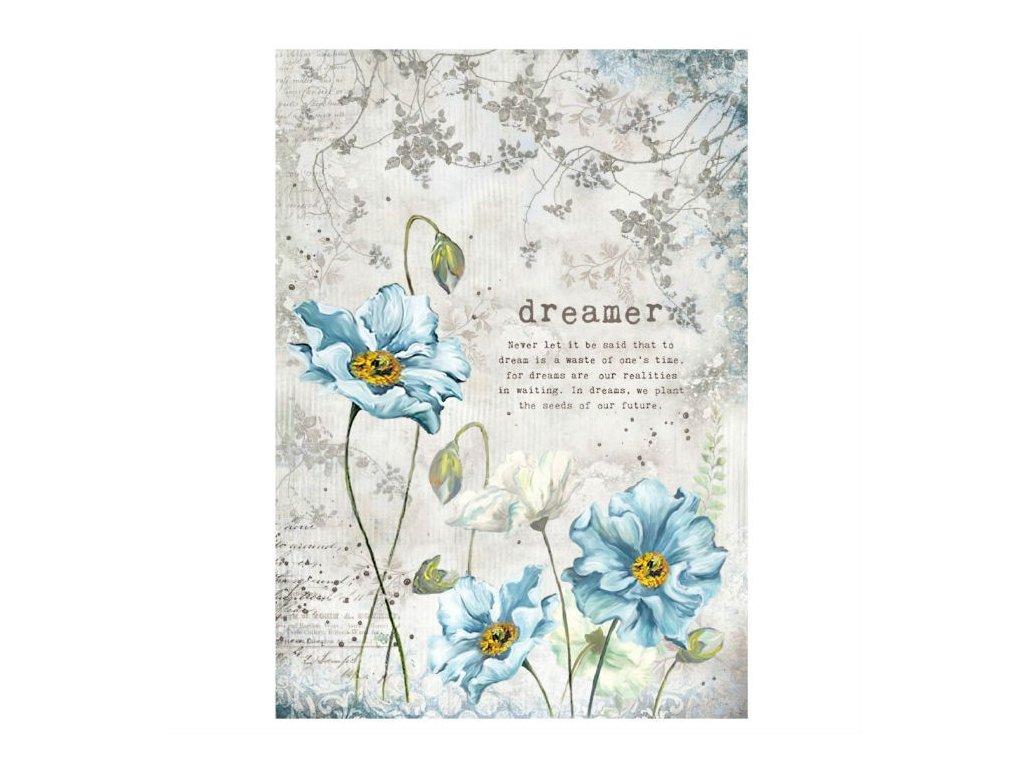 Rýžový papír Modré květiny