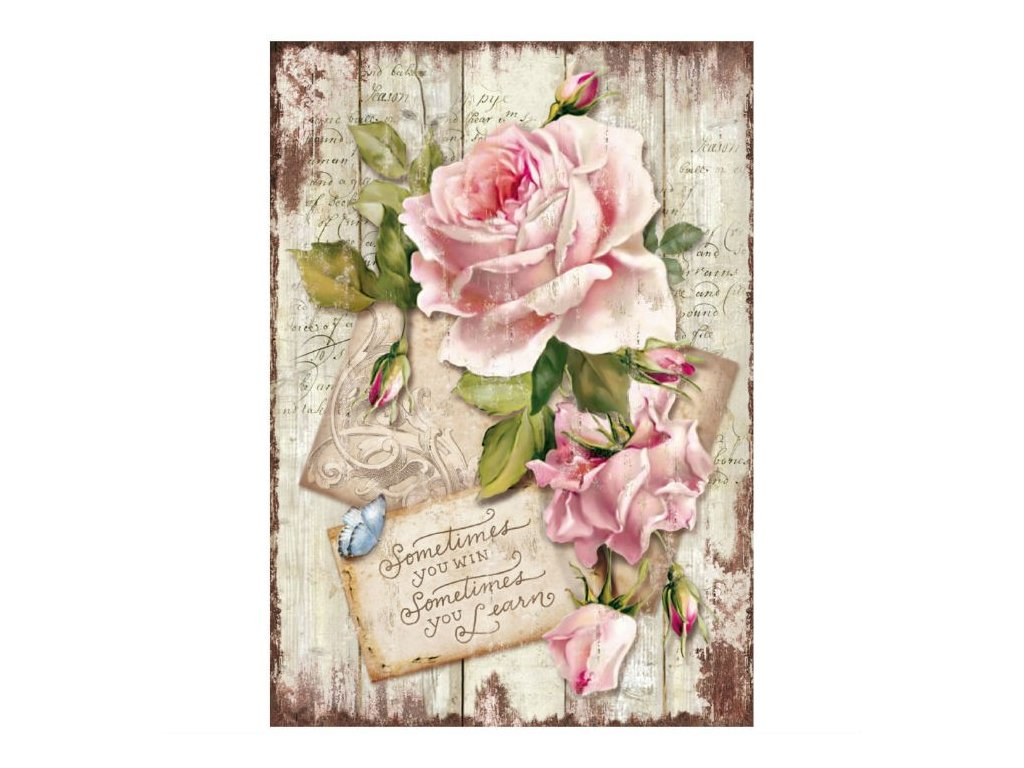Rýžový papír Růže a text