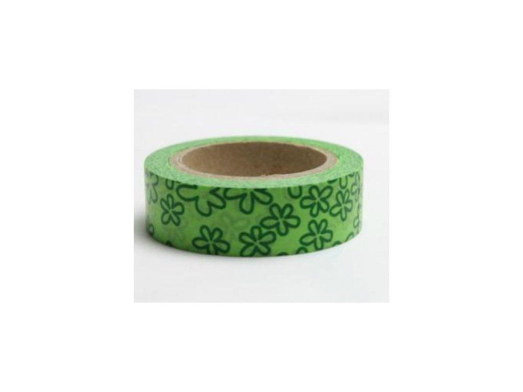 Samolepicí washi páska Květiny zelené