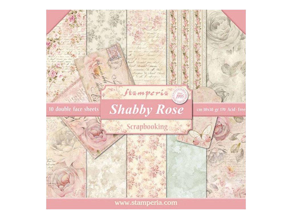Sada oboustranných papírů Růže vintage