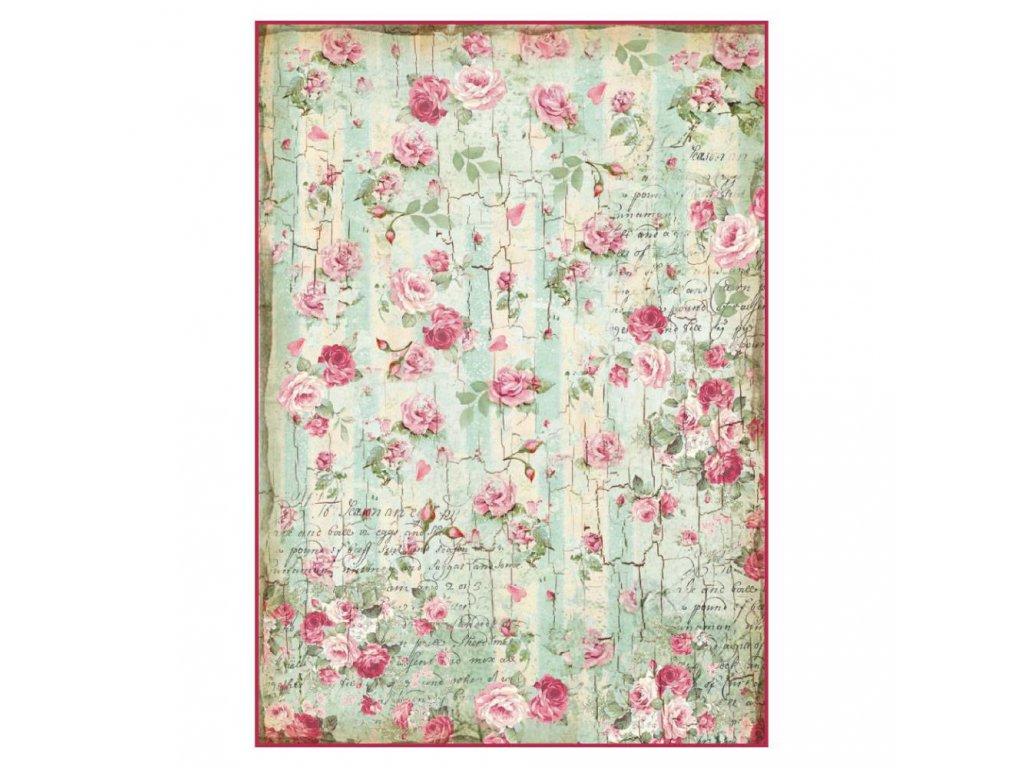 Rýžový papír Růžičky na dřevě
