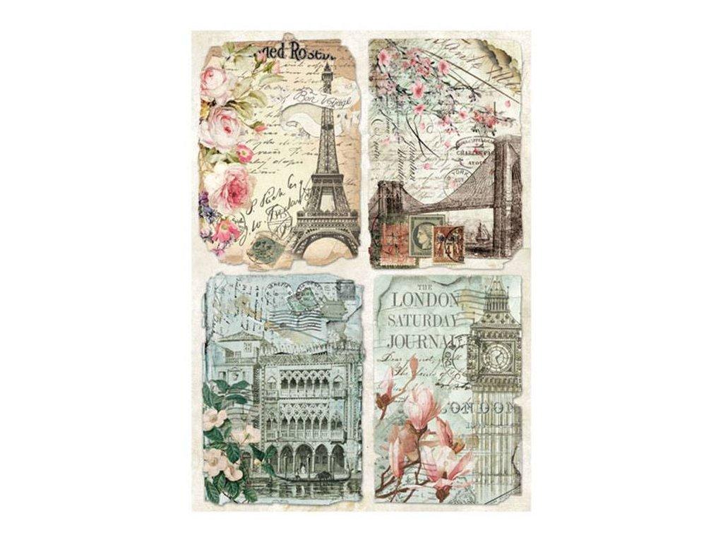 Rýžový papír Vintage pohlednice