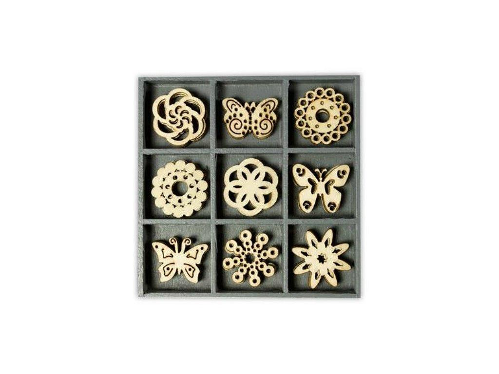 Mix dřevěných dekorací Ornamenty a motýlci
