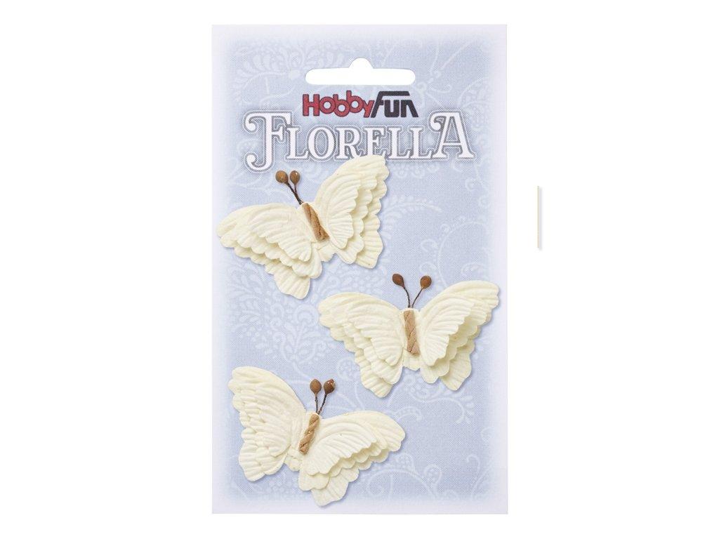 Papíroví motýli FLORELLA krémoví