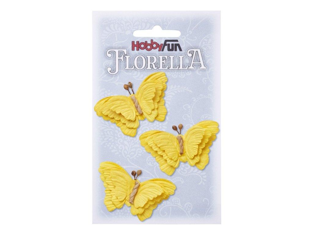 Papíroví motýli FLORELLA žlutí