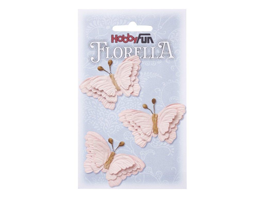 Papíroví motýli FLORELLA světle růžoví