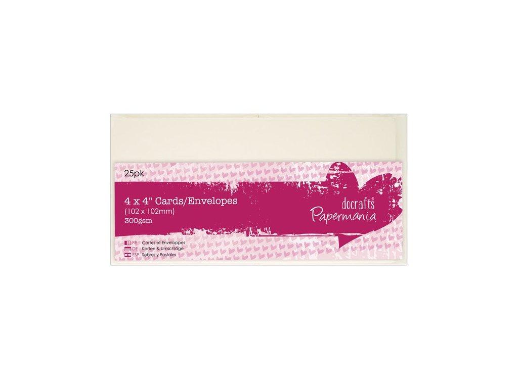 10x10 přání a obálky (25ks) krémové 300g/m2