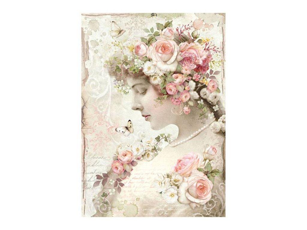 Rýžový papír Květinová žena