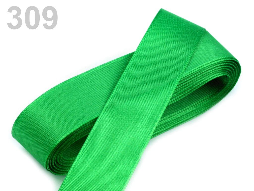 stuha taftová 25 mm zelená