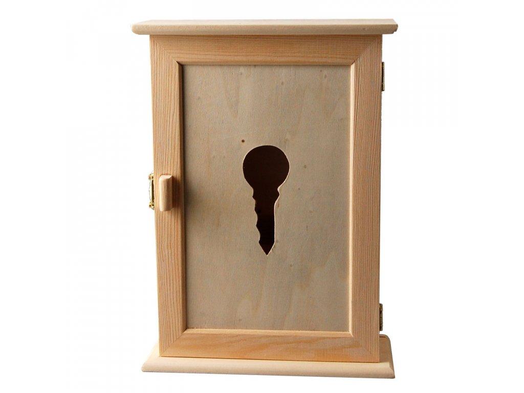 Dřevěná skříňka na klíče s výřezem klíče