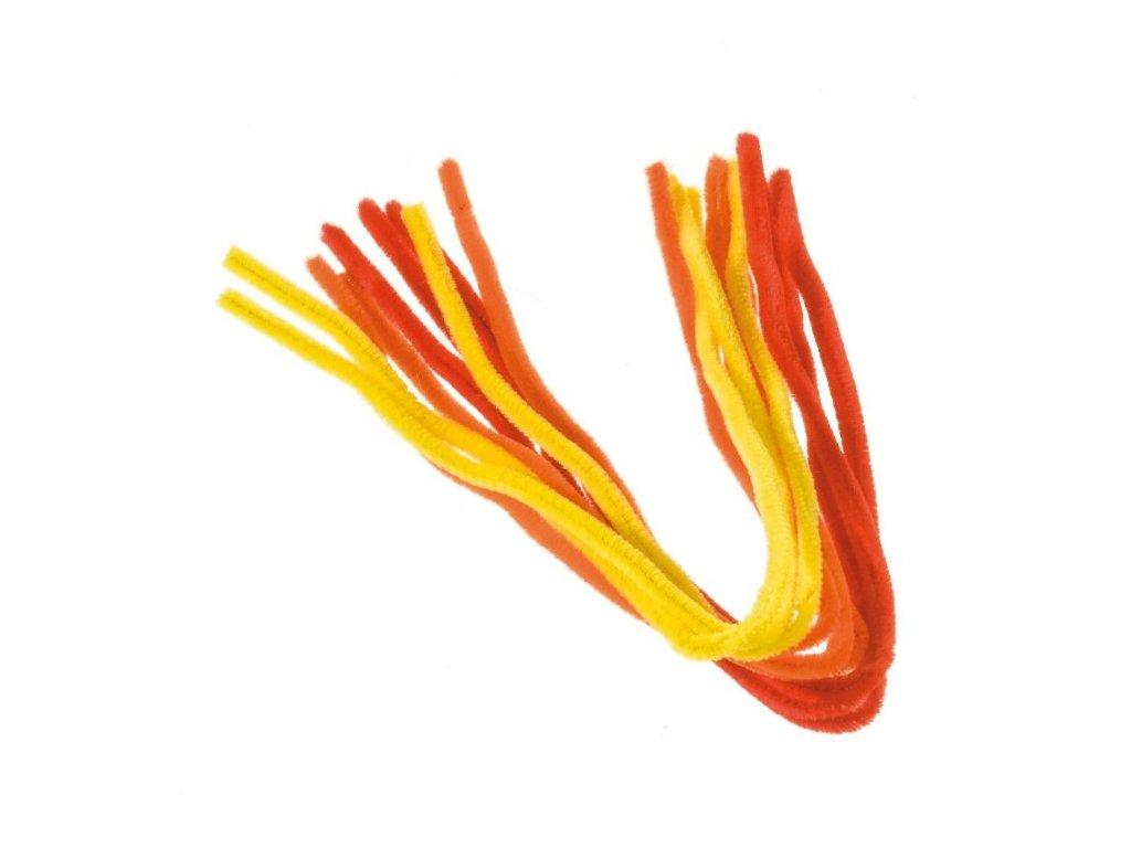 Chlupaté dráty barevné červené,oranžové a žluté