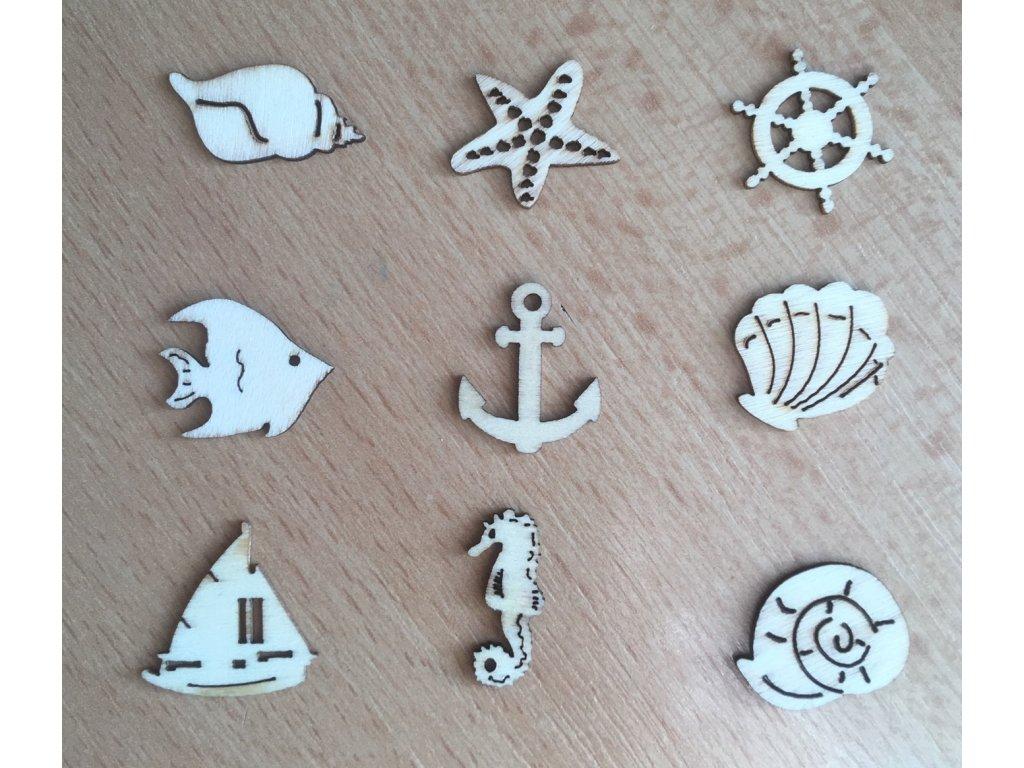 Mix dřevěných dekorací Mořské motivy
