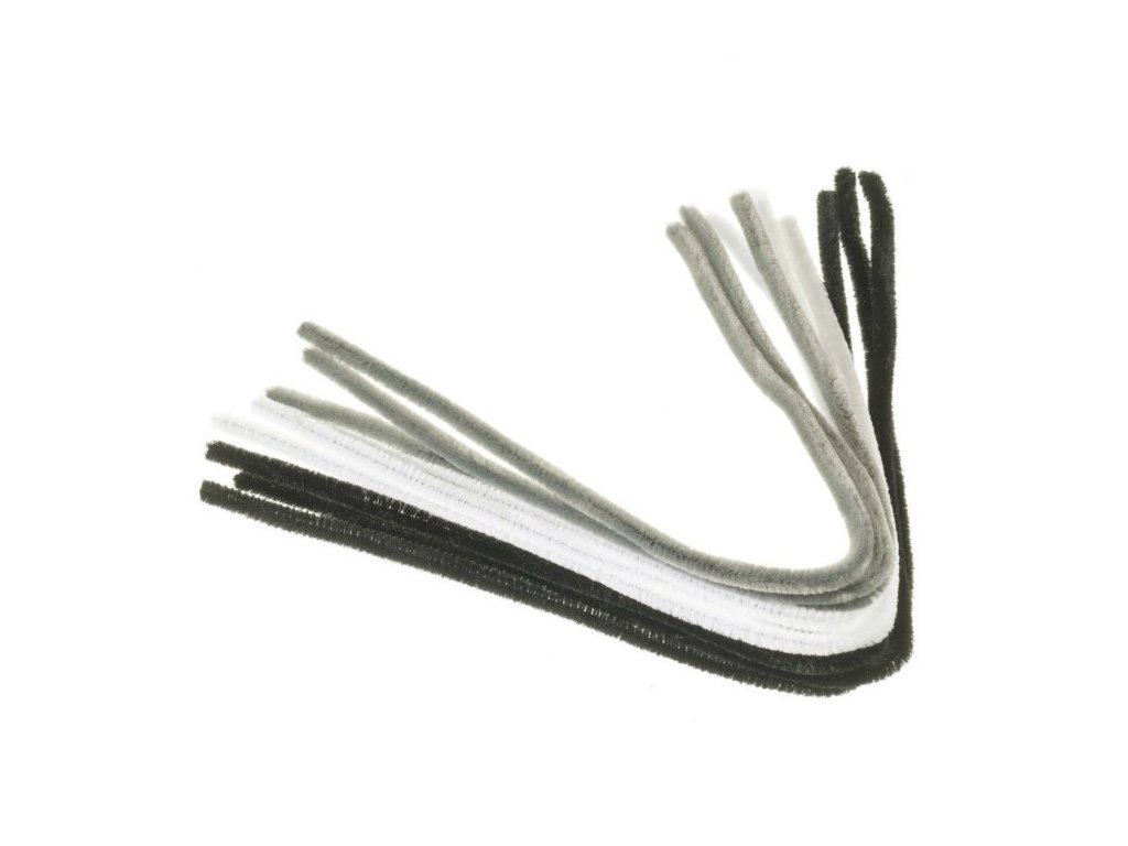 Chlupaté dráty barevné černé, šedivé a bílé