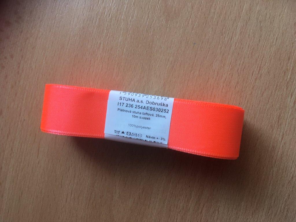 stuha taftová 25 mm reflexní červená