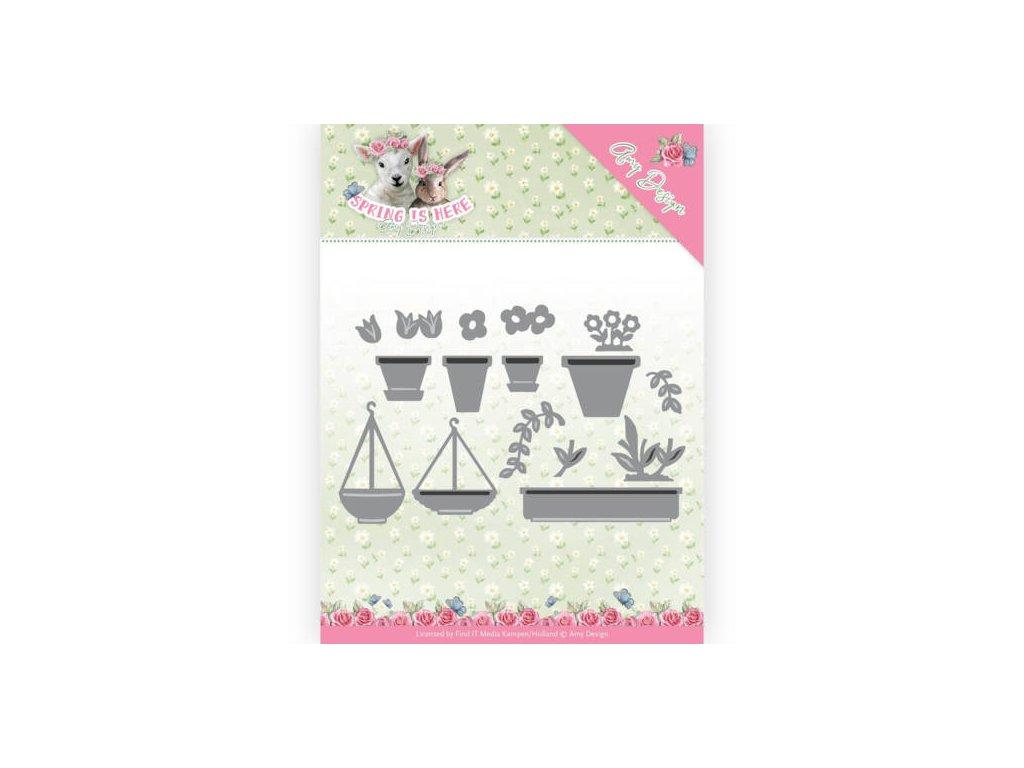 Šablona kovová vyřezávací Jarní květináče, truhlíky