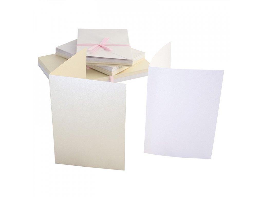 A6 přání a obálky 50ks - perleťové bílé a krémové