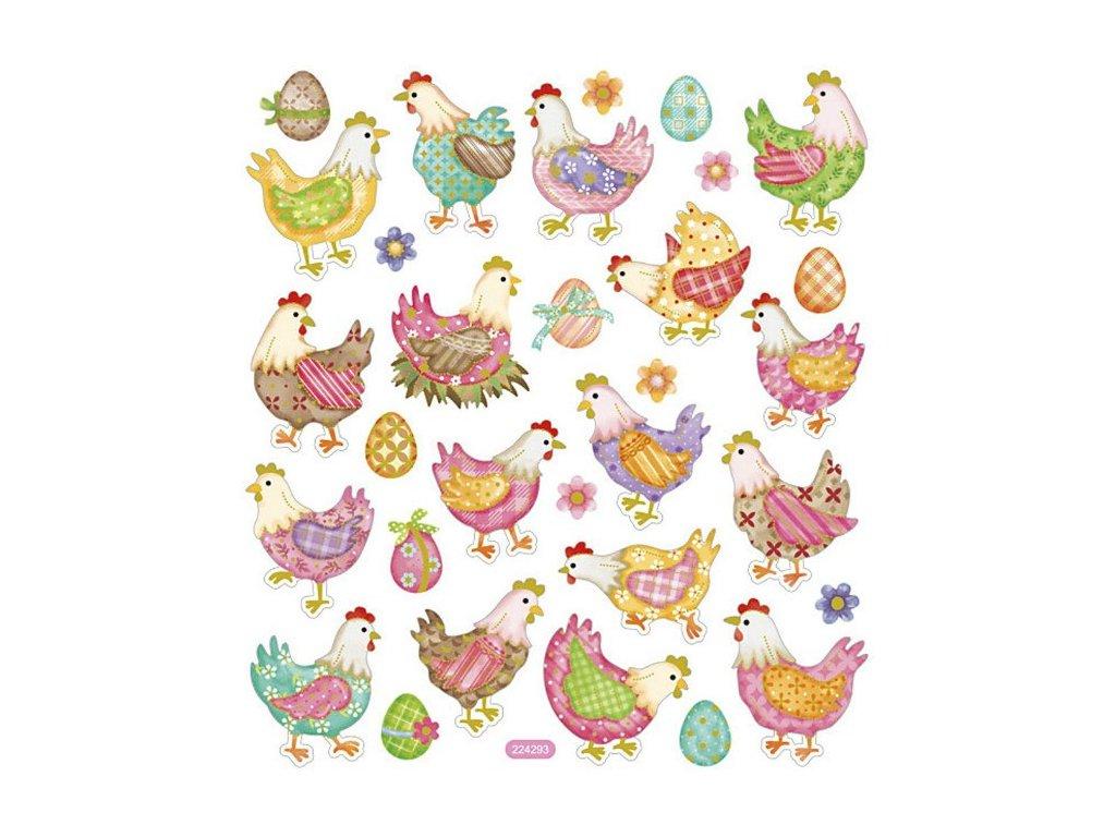 Samolepky Velikonoční slepice a vajíčka