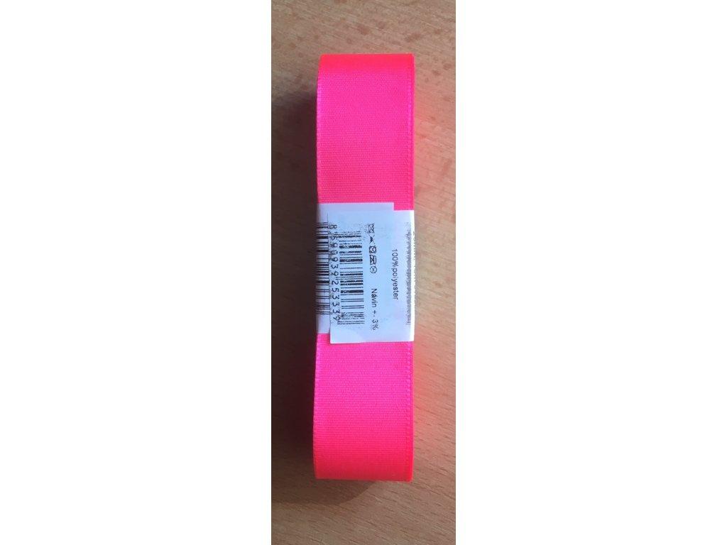 stuha taftová 25 mm reflexní růžová