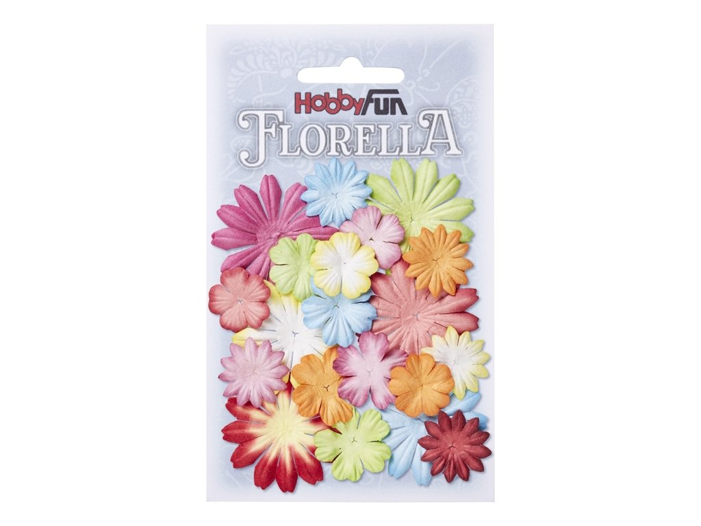 Papírové květy FLORELLA mix barev
