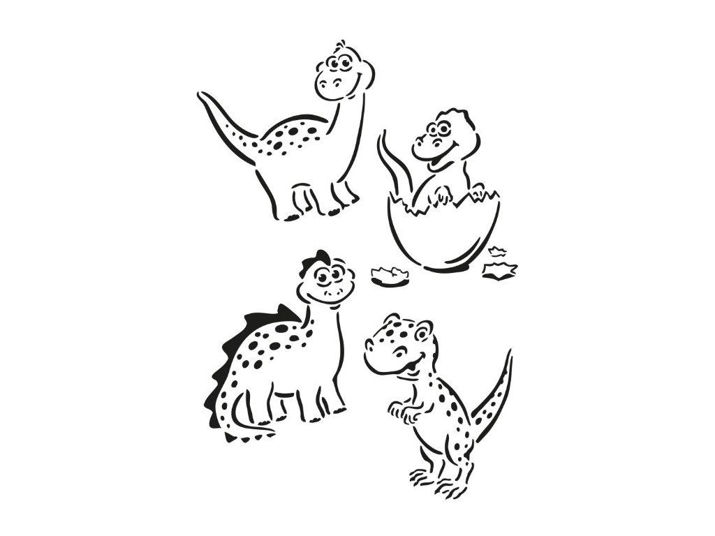 Plastová šablona A4 dinosauři
